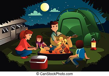Familiencamping im Wald.