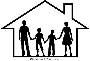 Familieneltern, Kinder in einem sicheren Zuhause