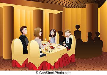 Familienessen in einem Restaurant.