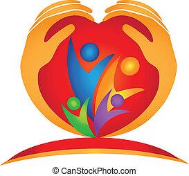 Familienhände und Herzform-Logo