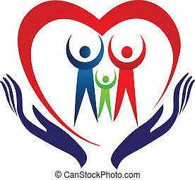 Familienhand- und Herz-Logo