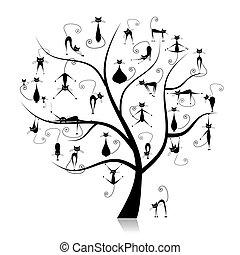Familienkatzenbaum, 27 schwarze Silhouette lustig