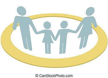 Familienkreise, sicher im Sicherheitsring