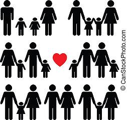 Familienlebens-Ikone in Schwarz.
