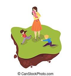 Familienspaziergang im Stadtpark. Glückliche Kinder und Mutter