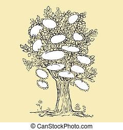 Familienstammbaumdesign mit leerem Rahmen