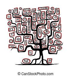 Familienstammbaumskizze mit Porträts für dein Design