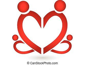 Familiensymbol Herz-Logo-Vektor