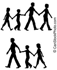 Familienvater führt Kinder und Hund zu Fuß.