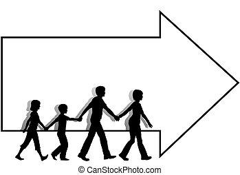 Familienvater-Kinder laufen Pfeilabbau