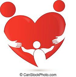 Familienzusammenführung in Herzform.