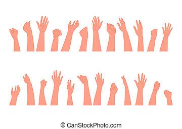 fans., hintergrund, klatschen, weißes, stil, menschliche , abbildung, wohnung, hände