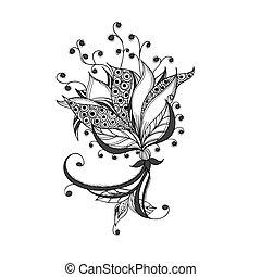Fantasieblüte, schwarzes und weißes Tattoomuster.