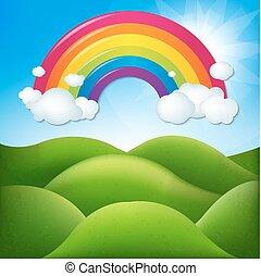 Fantastische Landschaft mit Regenbogen.