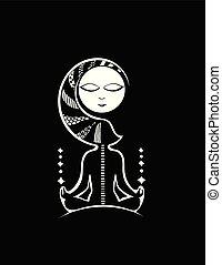 Fantasy Hintergrund mit einer Frau Yogi. Schwarz und weiß. Vector.