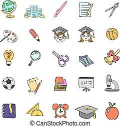 Farb-Doodle-Schule-Icons eingestellt.