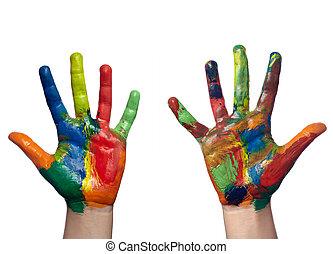 Farb gemaltes Kinderhandwerk