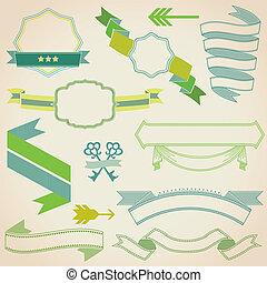 Farbbänder für deinen Text, Entwurf, Hochzeit, Einladung, Karte im Vektor