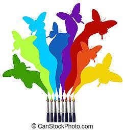 Farbbürsten und bunte Schmetterlingsregenbogen