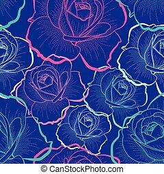 Farbbild-Rosen auf blauem Hintergrund Vektor nahtlos Muster.