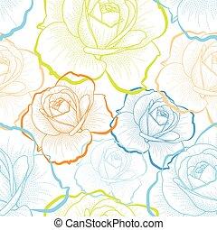 Farbbild-Rosen auf weißem Hintergrund Vektor nahtlos Muster.