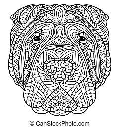 Farbbuch für Erwachsene. Hundebuch. Der Kopf eines Hundes Sharpay mit Stammesmuster.