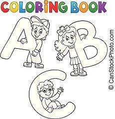 Farbbuch-Kinder mit Buchstaben ABC.