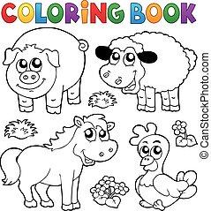 Farbbuch mit Bauerntieren.