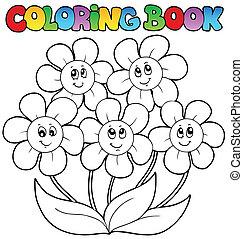 Farbbuch mit fünf Blumen
