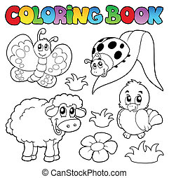Farbbuch mit Frühlingstieren