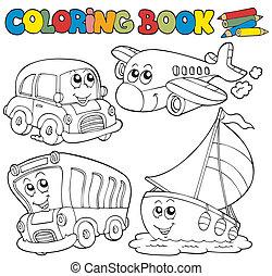 Farbbuch mit verschiedenen Fahrzeugen