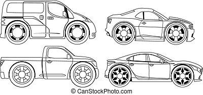 Farbbuch: stilisierte Autos eingestellt.