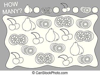 Farbbuch und Bildungsspiel, wie viele Früchte für Kinder. Vector Illustration.