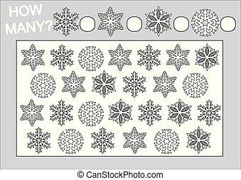 Farbbuch und Bildungsspiel, wie viele Schneeflocken für Kinder. Vector Illustration.