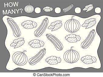Farbbuch und Mathematik Spiel, wie viele Gemüse. Bildung. Freizeitaktivität. Vector Illustration.