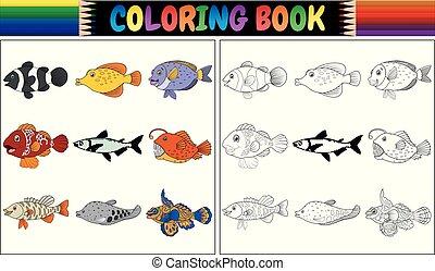 Farbbuch verschiedene Fische.