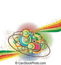 Farbe abstrakter Hintergrund mit Kreisen nad Sterne.