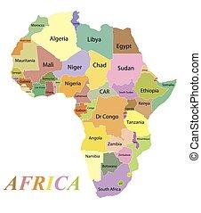 farbe, afrikas, namen, landkarte, land