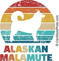 farbe, alaskisch malamute, weinlese