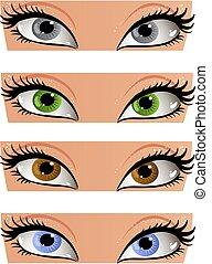 farbe, augenpaar, blick, weibliches gesicht