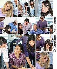 Farbe der beschäftigten Büroangestellten
