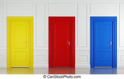 farbe, drei, türen