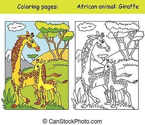 farbe, giraffe, färbung