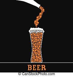 farbe, glas, bier, vektor