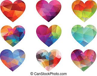farbe, herzen, geometrisches muster