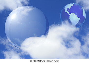 Farbe mit transparentem Raum und Erde