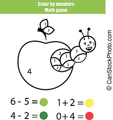 Farbe nach Zahlen. Mathematisches Spiel. Farbseite mit Raupe