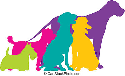 farbe, silhouetten, hund
