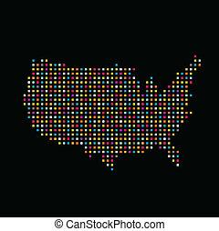 farbe, staaten, quadrat, punkt, vereint, landkarte
