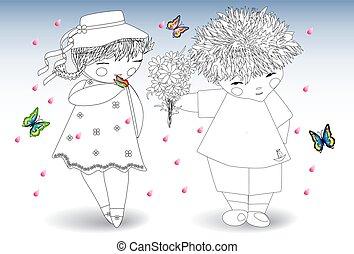 Farben für Erwachsene und Kinder. Der Junge schenkt dem Mädchen einen Blumenstrauß
